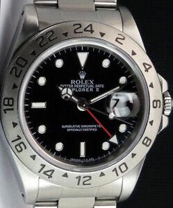 ROLEX 40mm Stainless Steel Explorer II Black Index Holes 16570 SANT BLANC