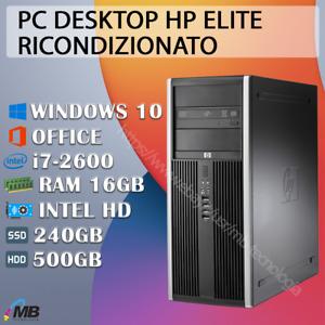 PC COMPUTER DESKTOP RICONDIZIONATO HP ELITE CORE i7 RAM 16GB WIN 10 + OFFICE