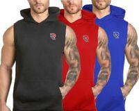 Men Muscle Sleeveless Hoodie Tank Top Bodybuilding Gym Workout Vest T-Shirt UK