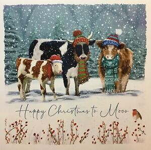 FUNNY COW/CATTLE CHARITY 'HAPPY CHRISTMAS TO MOOO' XMAS CARD-SINGLE CARD - 13cm