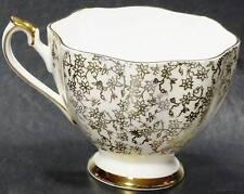 Fine Bone China England Orphan Teacup Gold Vines Flowers Gray Crown Backstamp