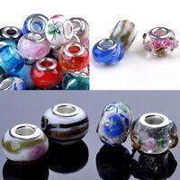 100stk Glasperlen Muranoglas Perlen Lampwork Charm Großlochperlen European Beads