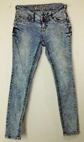 Wallflower womens sz 5 skinny high rise ankle acid wash thick stitch jeans