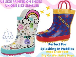 Kids Infant Cartoon Graffiti Rainbow Tiger Cat Waterproof Wellington Rain Boots