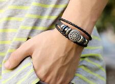 Pirate Style Vintage Braided Leather Bangle Punk Wristband Bracelets new