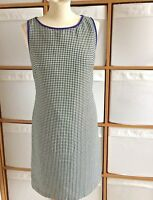 Pinafore Shift Dress Nine West Size 8 Sleeveless Black White Purple Trim