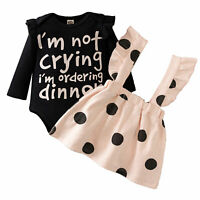 Baby Girls Princess Outfit Romper Tops Suspender Skirt Toddler Kids 2PCS Clothes