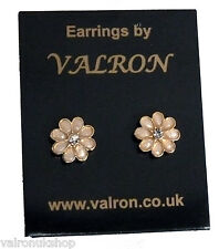 Cream Enamel Flower Stud Earring with Diamante Centre (pm)