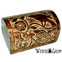 Raven Pentagram Witches Chest Wiccan Pagan Crow for Altar Storage or Tarot Cards