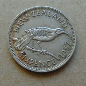 Coin NEW ZEALAND 6D 6P 6 SIXPENCE KING GEORGE VI -1952