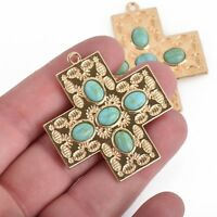 2 Cross Charms, Light Gold with Turquoise Blue, 43mm, chs3844