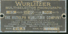 1937 Wurlitzer Simplex 616A # 204425 serial number identification plate or tag