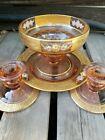 Pink Depression Glass Gold Trim Florals Set Bowl Plate Candlesticks