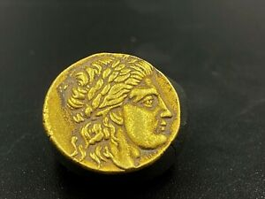 Old Ancient Antique Gold Coin Indo-Greek, Hermaeus (c.90-70 BC)