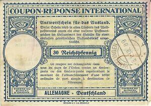 Coupon Reponse International 1938 - 30 Reichspfennig - Free UK P&P