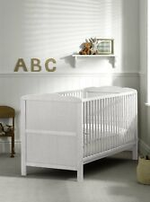 White Cot Bed 120 x 60cm & Cotbed Mattress, Converts into a Junior Bed