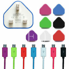 Micro USB V8 Color Charger Mains Plug + USB Data Cable For Samsung HTC LG Phones