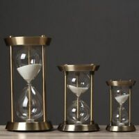Desktop Sand Hourglass Metal Retro Pendulum Timer Round Clock Home Decoration