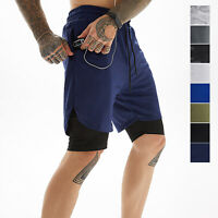 Men's 2-in-1 Summer Workout Shorts Mesh Breathable Elastic Waist with 4 Pockets