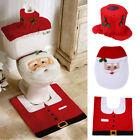 3pcs Toilet Seat Cover Rug Set Christmas Bathroom Home Decoration Xmas Santa