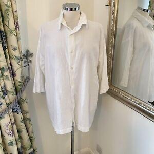Eskander Size 1 14 16 18 white 100% linen loose fit causal shirt white button
