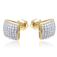 Men's Two Tone Yellow Gold Plated Sterling Silver Square Diamond Stud Earrings