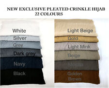Pleated Scarf Plain Crinkle Hijab Ripple Stripe Viscose Crimp New Fashion Trend