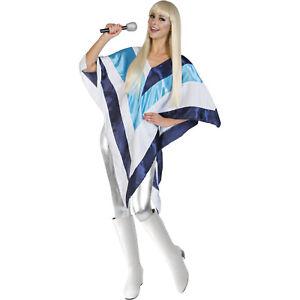 Ladies 70s Fancy Dress Super Disco 1970's Eurovision Trooper Poncho Cape Costume