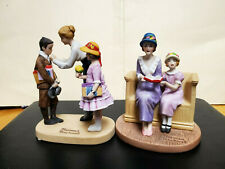 """Lot (2)Norman Rockwell Figurines """"Songs Of Praise� & """"First Day of School' 1984"""