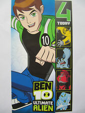 FANTASTIC COLOURFUL BEN 10 ULTIMATE ALIEN 4 TODAY 4TH BIRTHDAY GREETING CARD