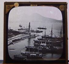 Antique Glass Slide Paddle Steamers  Docked At Naples Italy  Magic Lantern
