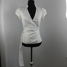 Express Design Studio Womens Blouse XS White Gold Silver Pinstriped Wrap Top