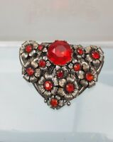 Vintage Art Deco Czech Filigree Red Faceted Rhinestone large Dress fur Clip