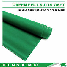 CHAMP. GREEN DOUBLE-SIDED WOOL POOL SNOOKER TABLE CLOTH FELT SUITS 7FT 8FT