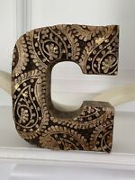 Vintage Handcrafted Carved Wooden Initial C Wood Block Gold Decorative Letter