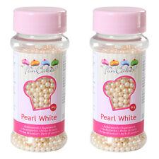 "(6,22€/100g) 2x 80g Funcakes Zuckerperlen ""Pearl White""  perlmuttweiss"