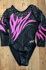 New listing Alpha Factor Leotard Gymnastics Competition Swarovski Crystal Pink Black Small