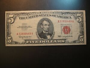 1963 United States $5 Legal Tender Note. Very Fine to Extra Fine.