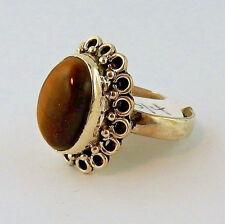 Tiger's eye cabochon gemstone size 8 ring