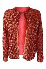 VINTAGE RED SEQUINNED OPEN JACKET