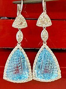 HUGE Natural 34.78CT Rose Cut Mix Cut Diamond Topaz Dangling Earrings 14K.W.G.