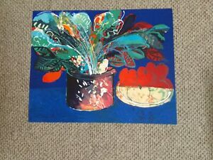 CALMAN SHEMI STILL LIFE IN BLUE HAND SIGNED & NUMBERED LITHOGRAPH UNFRAMED 22X29