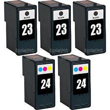5 Pk 23 Black & 24 Color Ink For Lexmark Z1410 Z1420 X3530 X3550 X4530 X4550
