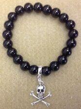 Handcrafted Black Gothic Skull N Bones Charm Beaded Bracelet
