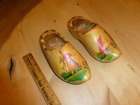 Vintage Handmade Wooden clog Shoes Made in Holland with wall Hooks