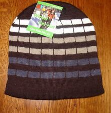 Brown White Checked Striped Beanie Knit Cap Winter Hat