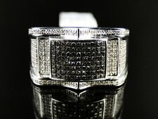 Mens White Gold Finish Black/White Diamond Pinky Fashion Band Ring .75 Ct