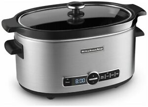 KitchenAid Slow Cooker 6-Quart with Glass Lid | Stainless Steel