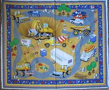 Hard Hats Fabric Panel by Avlyn Construction Toy Mat Out Of Print Premium Cotton