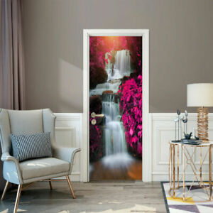 3D Scenery Waterfall Door Wall Sticker Decal Self-Adhesive Home Mural Decoration